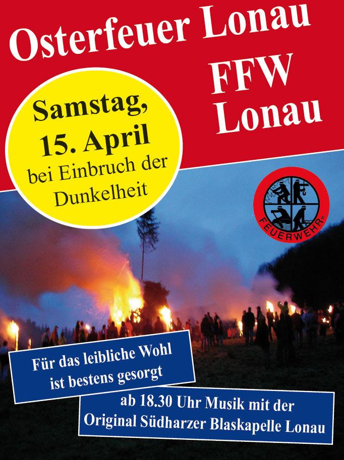 Plakat Osterfeuer Lonau 2017