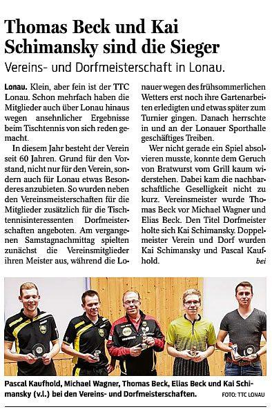 Vereins- und Dorfmeisterschaft in Lonau