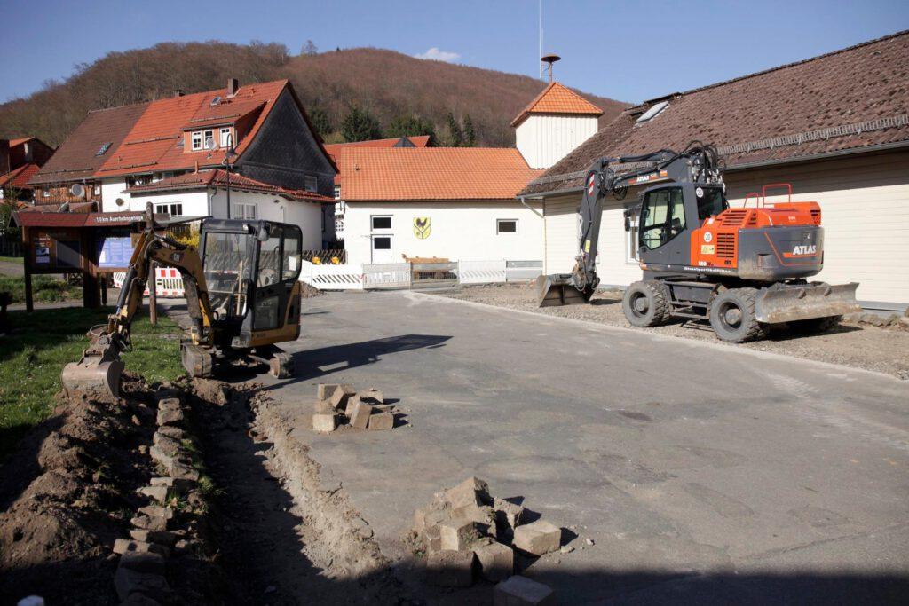 Bauarbeiten am Dorfgemeinschaftshaus in Lonau
